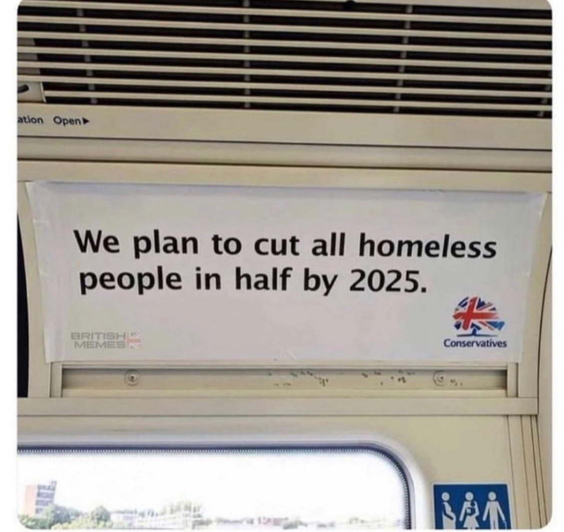 Homeless people cut in half